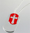 SMALL RED CROSS/DOG TAG PENDANT